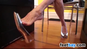 Amazing blonde woman in a high heels made her lover fuck her hard and deep