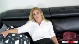 Hot cougarmom Bunny Davy is riding a hard cock in the interview room and screaming
