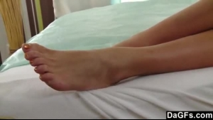 Skinny blonde showed up with anal in that bed