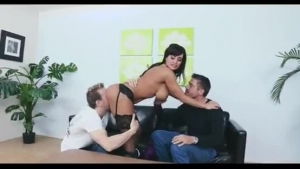 Insatiable blonde chick, Lisa Ann likes to have threesomes in the afternoon, with two good guys